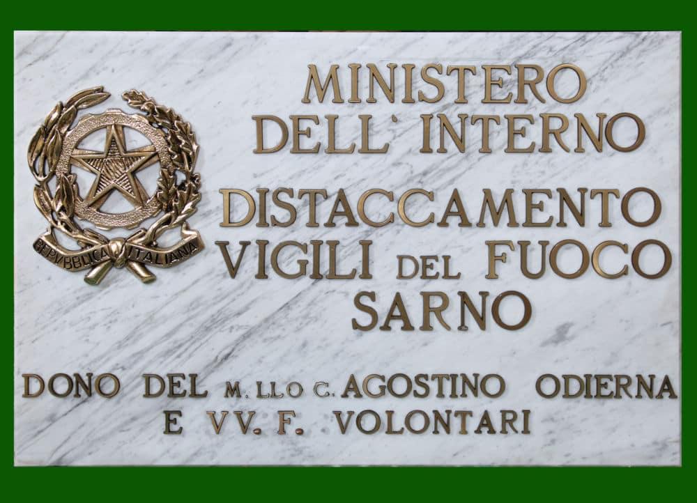 Targa marmo Vigili del Fuoco Centro Polifunzionale Sarno
