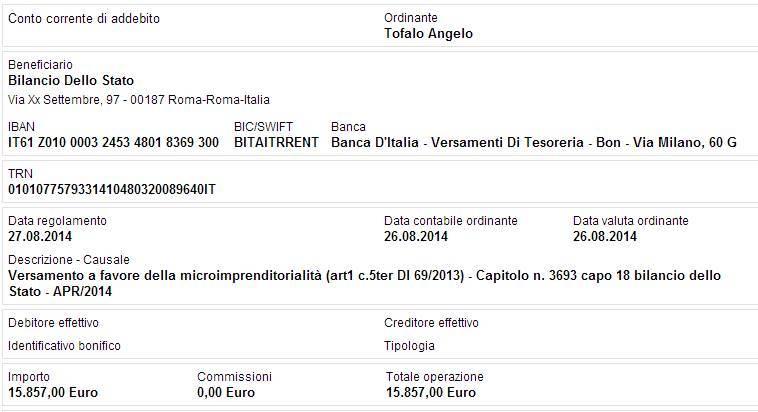bonifico restituzione stipendio angelo tofalo aprile 2014