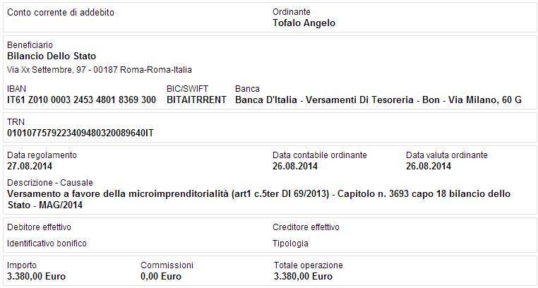 bonifico restituzione stipendio angelo tofalo maggio 2014