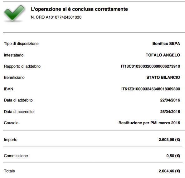 restituzione stipendio bonifico marzo 2016